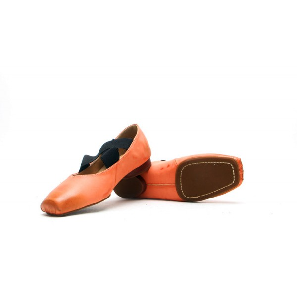 Women's Orange Square Toe Elastic Strap Comfortable Flats  image 3