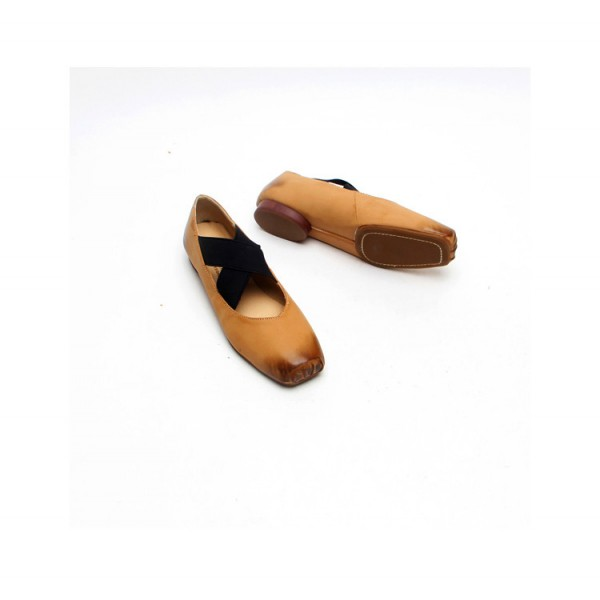 Vintage Comfortable Flats Khaki Square Toe Shoes image 2