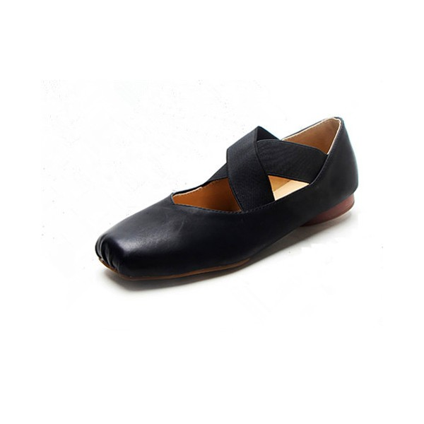 Black Square Toe Ballet Flat Vintage Shoes for Female image 1