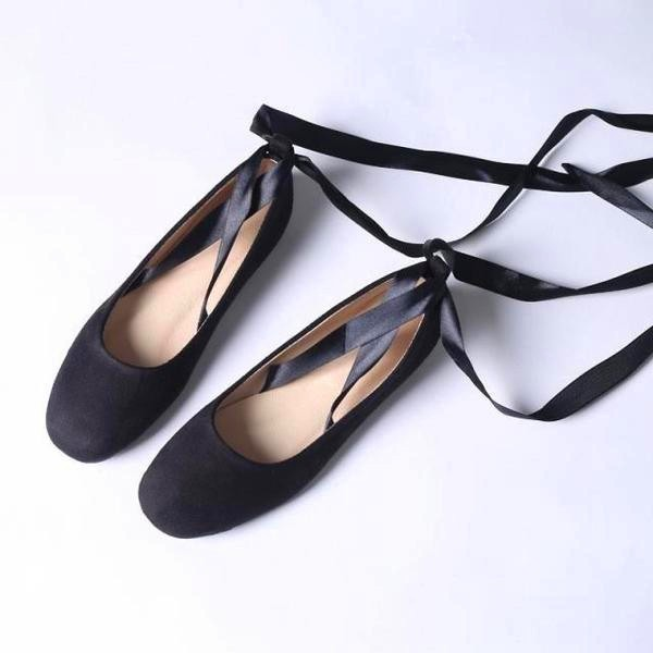 Black Suede Comfortable Flats Strappy Ballet Shoes for Female image 2