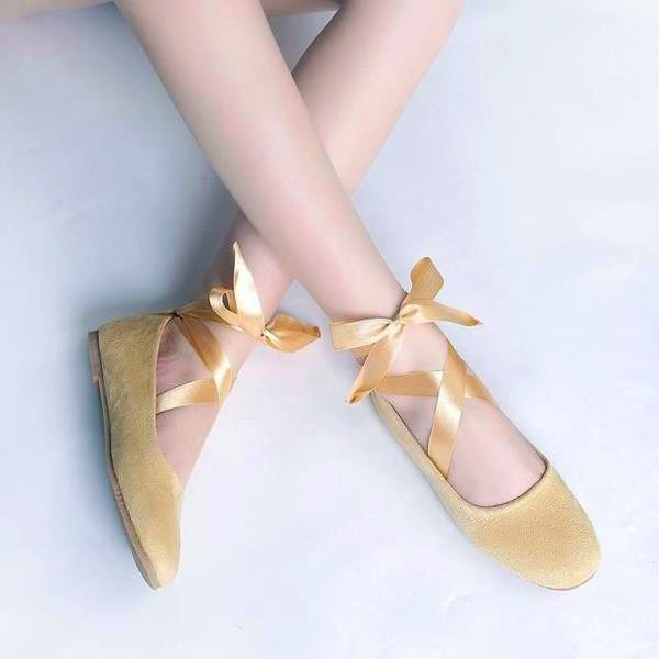 Yellow Suede Ballet Flats Silk Ribbon Strappy Shoes for Female image 2
