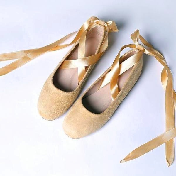 Yellow Suede Ballet Flats Silk Ribbon Strappy Shoes for Female image 1