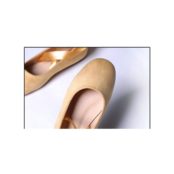 Yellow Suede Ballet Flats Silk Ribbon Strappy Shoes for Female image 3