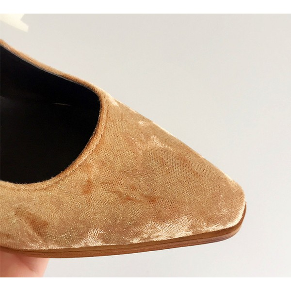 Khaki Suede Comfortable Flats Vintage Shoes for School image 2