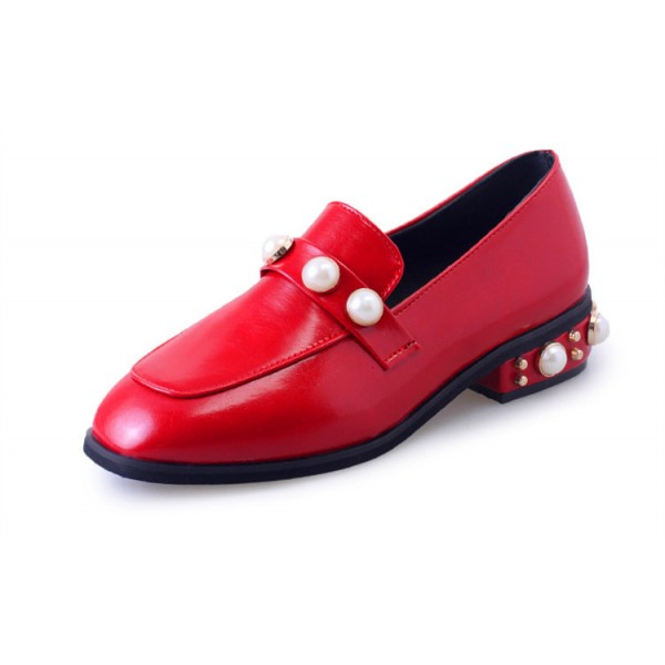 Red Vintage Square Toe Low Heel Pearls Loafers for Women  image 2