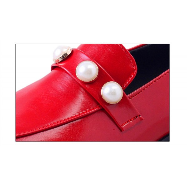 Red Vintage Square Toe Low Heel Pearls Loafers for Women  image 5
