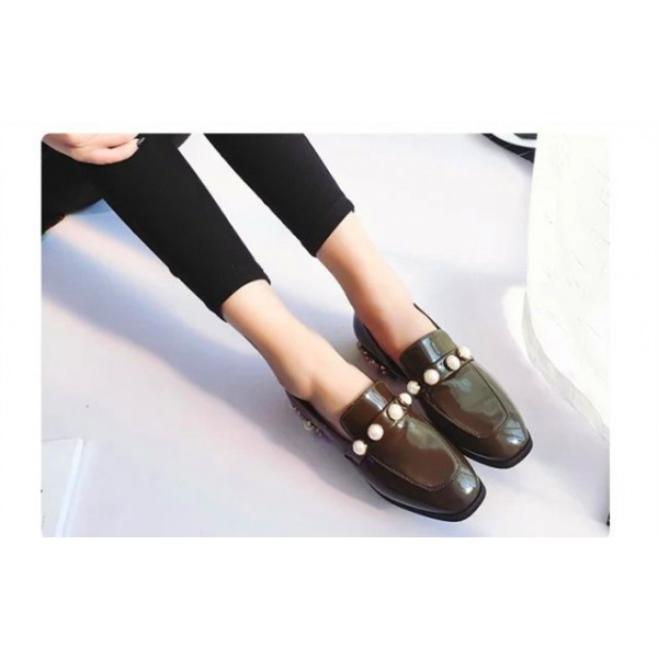 Dark Green Patent Leather Low Heel Pearls Square Toe Loafers for Women image 3