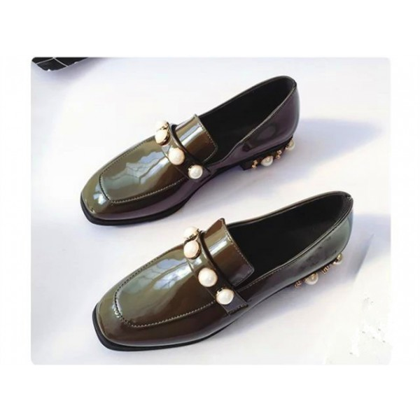 Dark Green Patent Leather Low Heel Pearls Square Toe Loafers for Women image 4