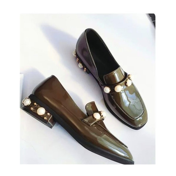 Dark Green Patent Leather Low Heel Pearls Square Toe Loafers for Women image 2