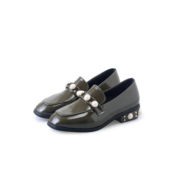 Dark Green Patent Leather Low Heel Pearls Square Toe Loafers for Women image 1