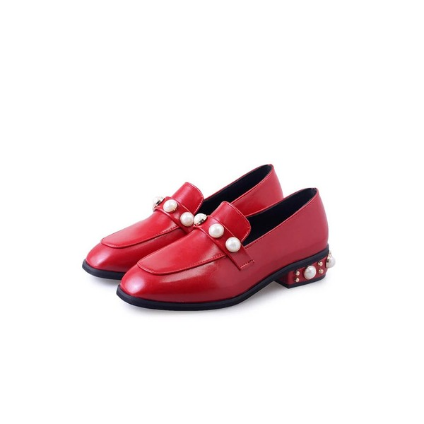 Coral Red Square Toe  Flat Vintage Shoes-Women's Brogues image 1
