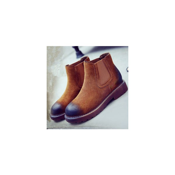 Women's Brown Flats Ankle Suede Round Toe Vintage Boots image 1