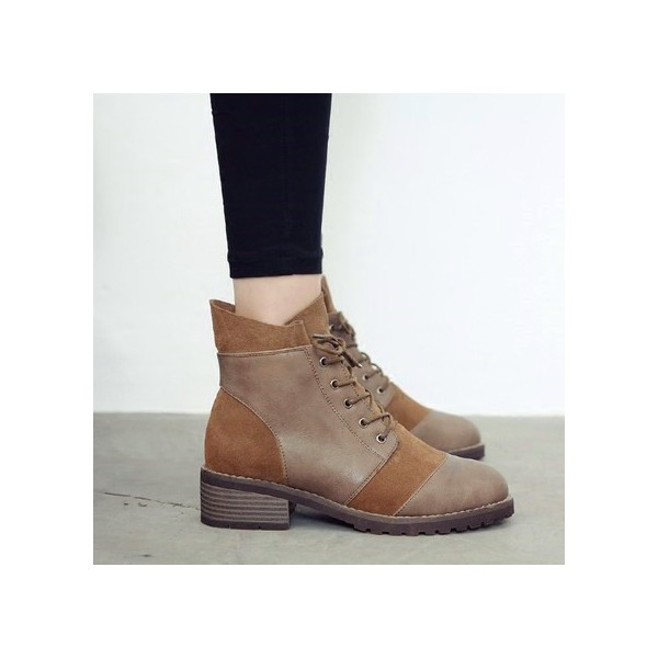 Tan Vintage Boots Round Toe Lace up Low Heel Short Boots image 2