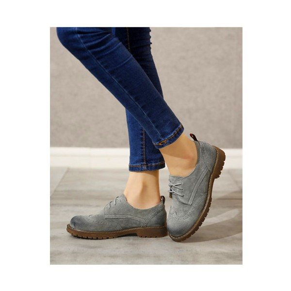Women's Oxfords Grey Round Toe Lace-up Flat Vintage Shoes image 3