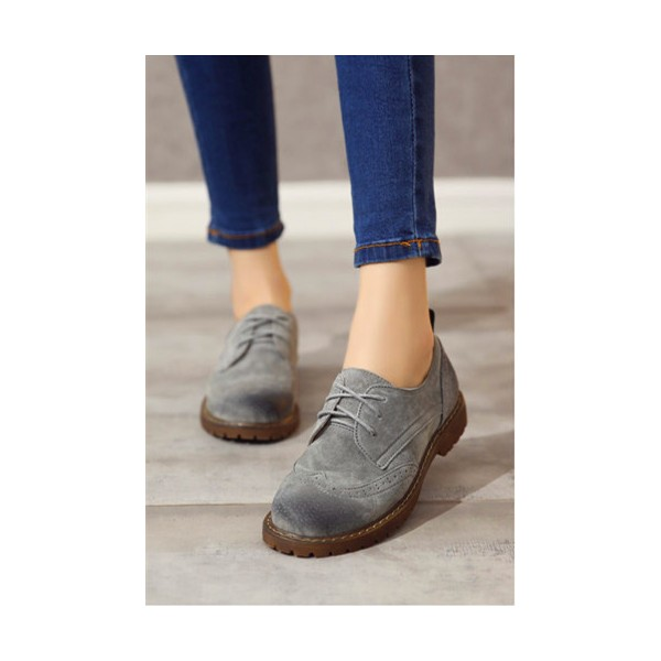 Women's Oxfords Grey Round Toe Lace-up Flat Vintage Shoes image 2