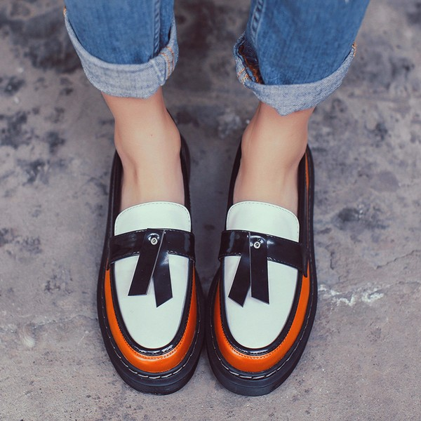 2017 Fall Orange Women's Oxfords Vintage Loafers School Shoes image 2