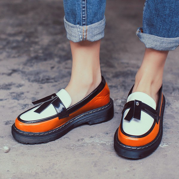 2017 Fall Orange Women's Oxfords Vintage Loafers School Shoes image 1