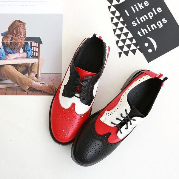 Women's Patch-color Lace-up Oxfords Flat Vintage Shoes image 1