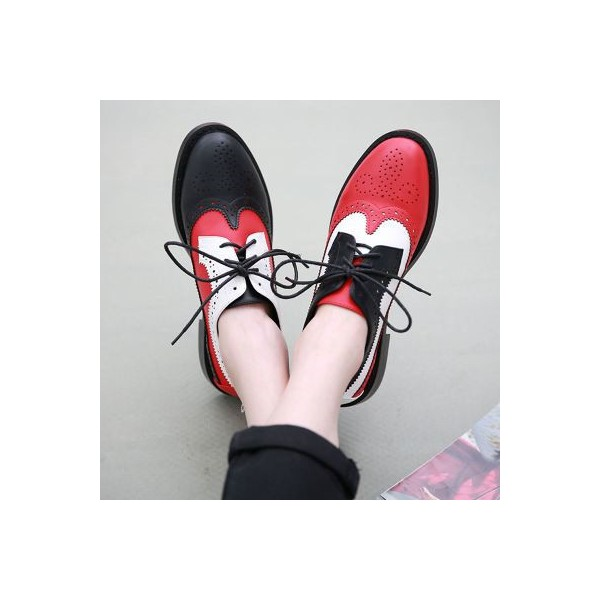Women's Patch-color Lace-up Oxfords Flat Vintage Shoes image 3
