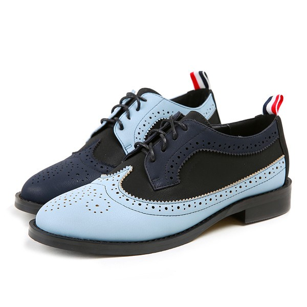 Blue and Navy Women's Oxfords Lace Up Vintage Brogues School Shoes image 1