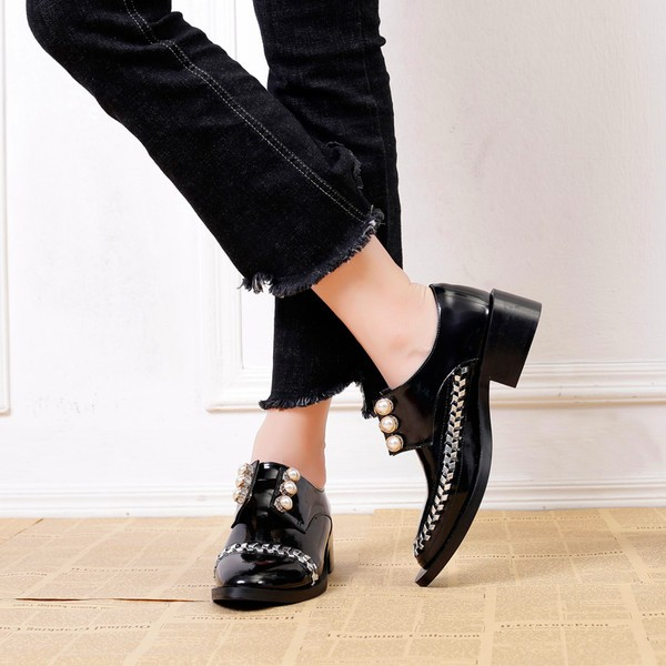 Women's Black Oxfords Rhinestones and Pears Vintage Shoes image 3