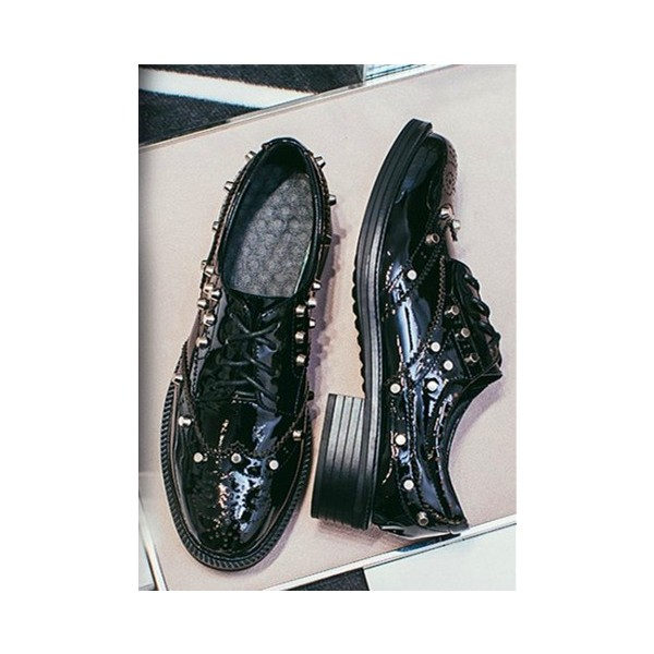 Black Patent Leather Wingtip Shoes Round Toe Lace up Vintage Oxfords image 3