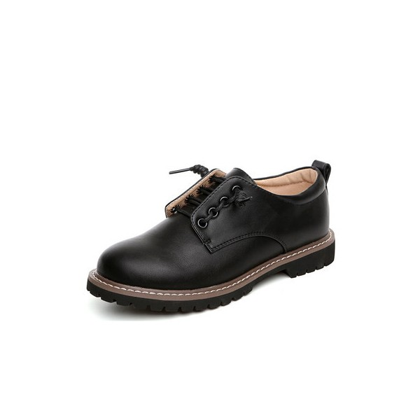 Black Women's Oxfords Lace up Flats Comfortable School Shoes image 1