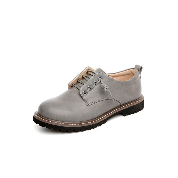 Women's Grey Lace-up Oxfords Flats Round Toe Vintage Shoes image 1