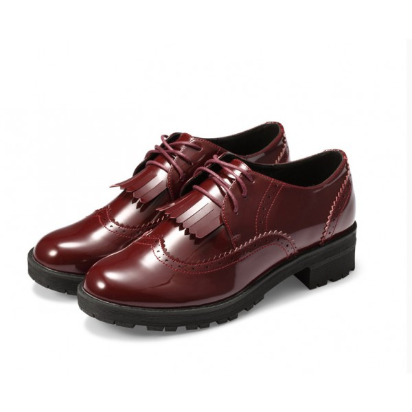 Burgundy Patent Leather Fringed Lace-up Vintage Shoes-Women's Oxfords image 1