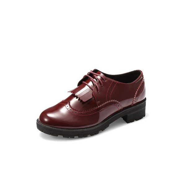 Burgundy Patent Leather Fringed Lace-up Vintage Shoes-Women's Oxfords image 5