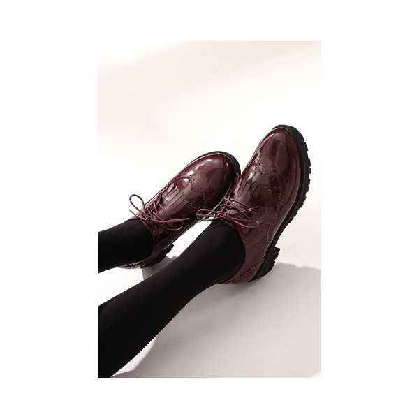 Burgundy Patent Leather Fringed Lace-up Vintage Shoes-Women's Oxfords image 2