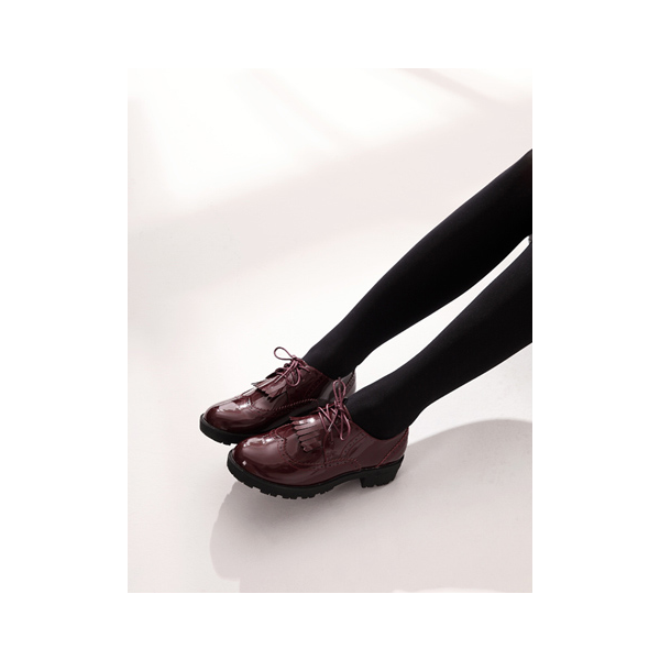 Burgundy Patent Leather Fringed Lace-up Vintage Shoes-Women's Oxfords image 4