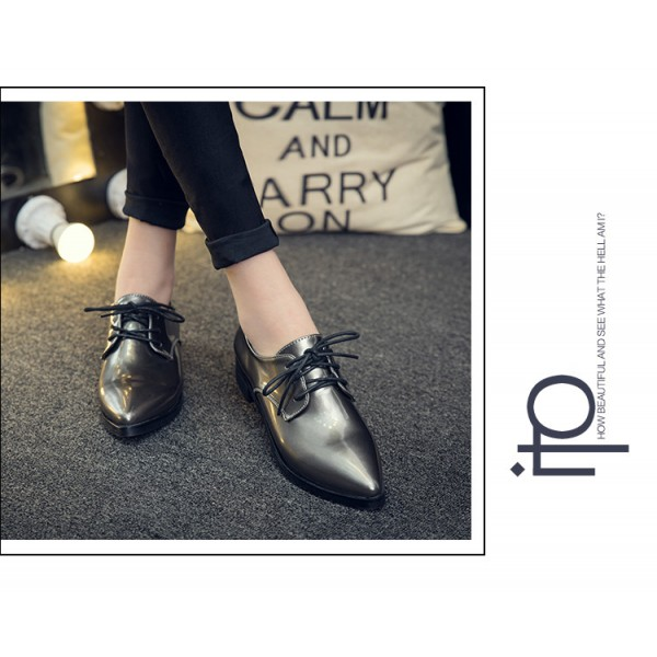 Grey Women's Oxfords Lace up Pointy Toe Patent Leather Vintage Shoes image 2