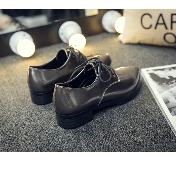 Grey Women's Oxfords Lace up Pointy Toe Patent Leather Vintage Shoes image 3