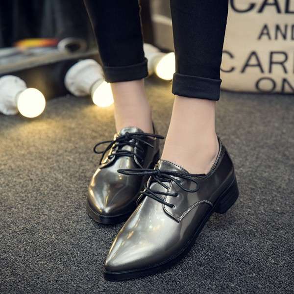 Grey Women's Oxfords Lace up Pointy Toe Patent Leather Vintage Shoes image 1