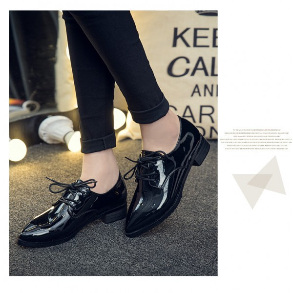 Women's Oxfords Patent Leather Black Lace up Heels Vintage Shoes image 3