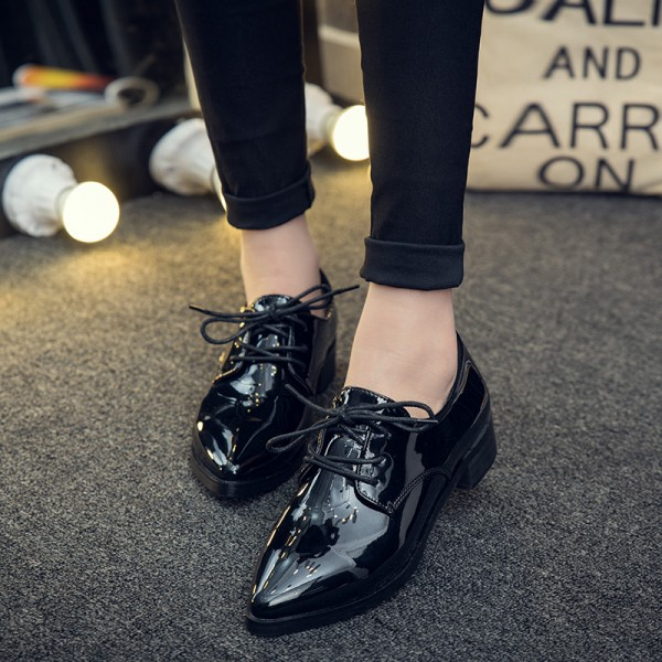 Women's Oxfords Patent Leather Black Lace up Heels Vintage Shoes image 1