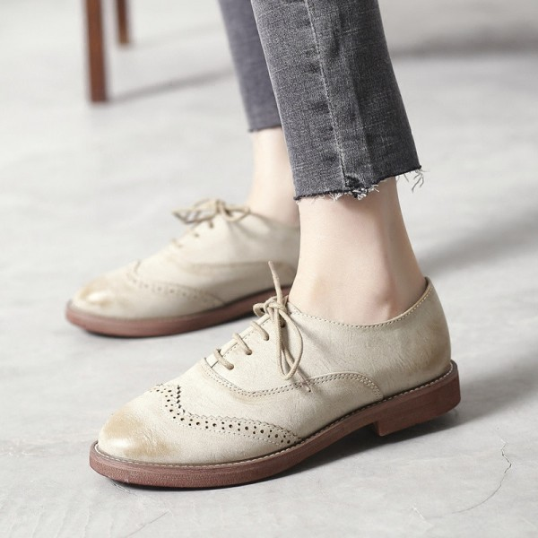Beige Vintage Shoes Women's Oxfords Comfortable Lace-up Flats  image 3