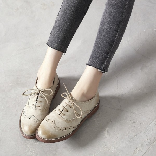 Beige Vintage Shoes Women's Oxfords Comfortable Lace-up Flats  image 2