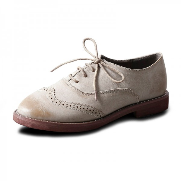 Beige Vintage Shoes Women's Oxfords Comfortable Lace-up Flats  image 1