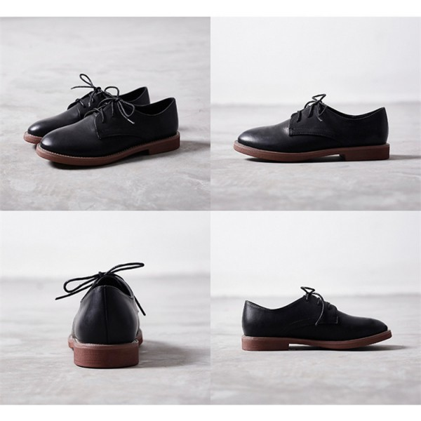Black Lace-up Women's Oxfords  Round Toe Comfortable Vintage Shoes image 3