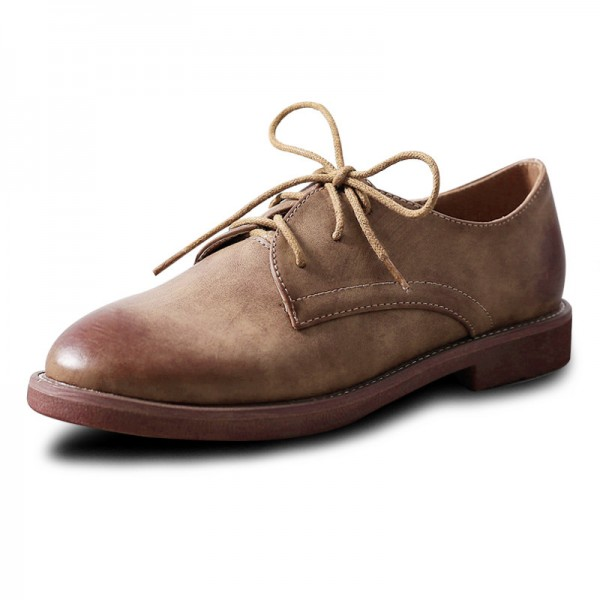 Brown Round Toe Vintage Shoes Lace-up Flats Women's Oxfords image 1
