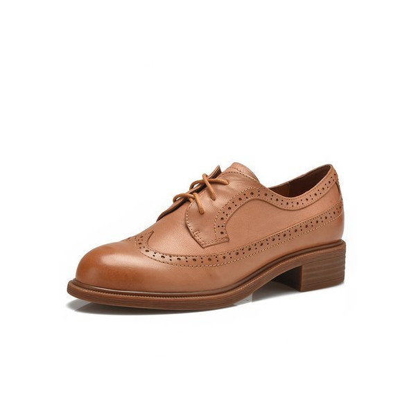Tan Women's Oxfords Round Toe Lace-up Vintage Shoes image 1