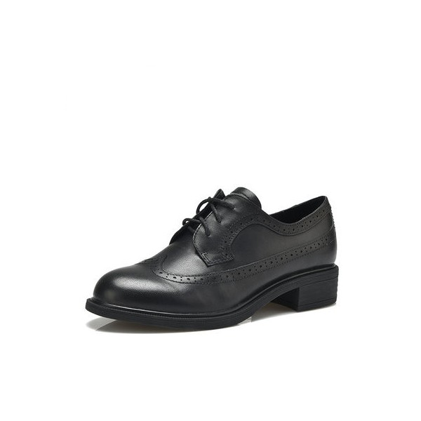 Leila Black Round Toe Vintage Shoes Lace-up Flats Women's Oxfords-Brogues image 1