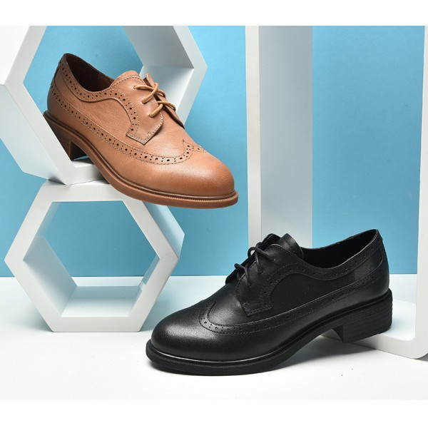 Black Women's Oxfords Round Toe Lace up Vintage School Shoes image 4