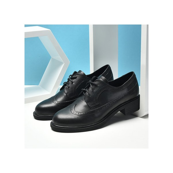 Black Women's Oxfords Round Toe Lace up Vintage School Shoes image 3