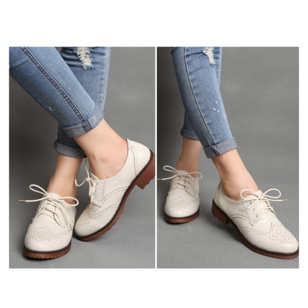 Ivory Women's Oxfords School Shoes Vintage Lace up Comfortable Flats image 5