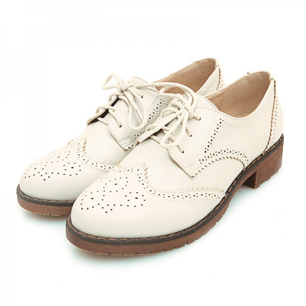 Ivory Women's Oxfords School Shoes Vintage Lace up Comfortable Flats image 1