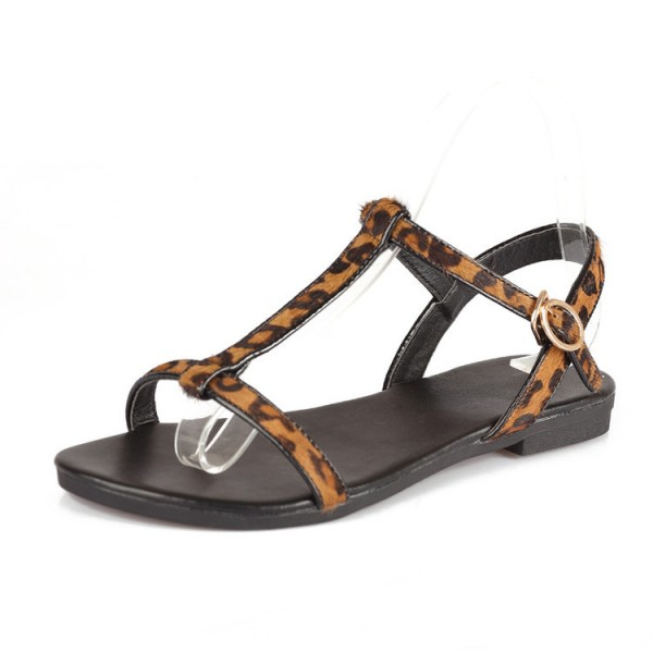 Women's Brown T-strap Leopard Print Flats Sandals image 5