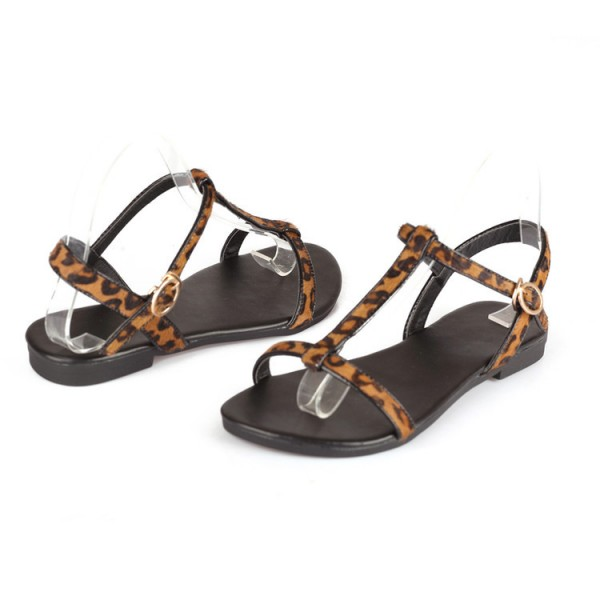 Women's Brown T-strap Leopard Print Flats Sandals image 4